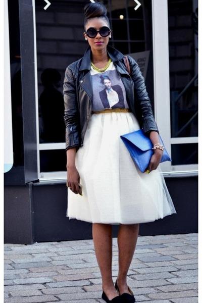 ivory tulle DIY skirt - black leather Topshop jacket - blue clutch asos bag