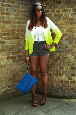 dip dye asos blazer - laptop case asos bag - denim diy Levis shorts