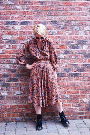 Topshop sunglasses - vintage dress - doc martens boots