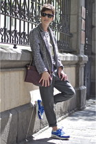 blue nike sneakers - dark gray tweed Shana coat - maroon Zara bag