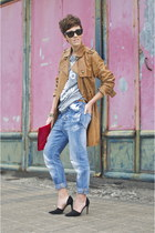 tawny leather Pepe Jeans coat - sky blue boyfriend jeans Closed jeans