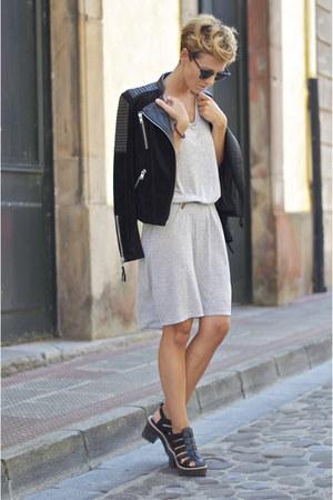 black Mango jacket - heather gray Zara dress - black Zara heels