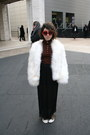 white vintage John Pappas Furs jacket - red unkown sunglasses