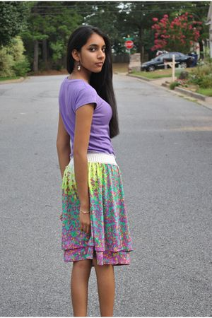 purple Zara shirt - green ECI skirt