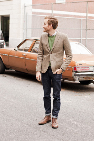tweed H&amp;M blazer - Topman boots - Doctrine Denim jeans - J Crew sweater