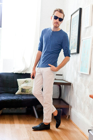 black Urban Outfitters shoes - white Zara pants - blue henley H&amp;M top