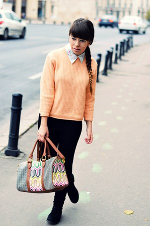 off white Bershka shirt - black Zara tights - bronze Accessorize bag