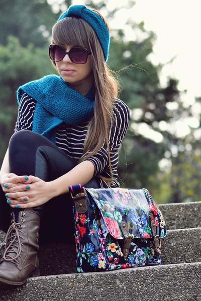 turquoise blue Accessorize bag - dark brown Bershka boots - black H&M tights