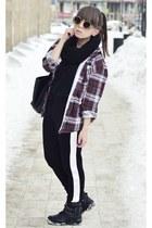 black Bershka boots - black New Yorker bag - black zeroUV sunglasses