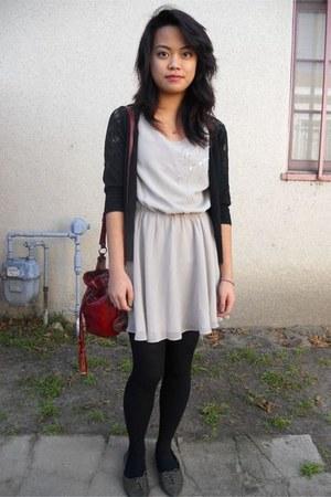 f21 dress - Target cardigan - Dollhouse flats - the sak purse