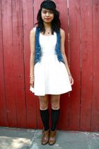 UO vest - f21 dress - UO boots - F21 headband accessories