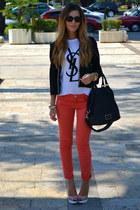 YSL t-shirt - Zara pants - Christian Louboutin sandals