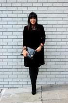 black thrift bag - crimson vintage dress - black Forever 21 heels
