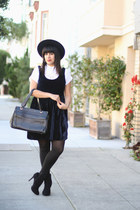 navy vintage dress - navy vintage hat - black American Apparel tights