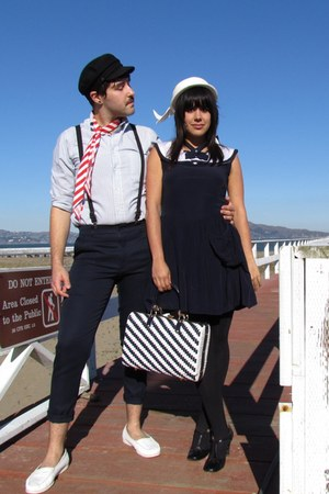 navy vintage dress - white vintage hat - black American Apparel tights - navy vi