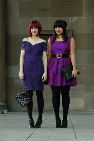 black American Apparel tights - purple vintage dress