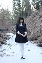 navy vintage dress - off white Piedmont tights - off white Anne Taylor blouse