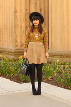 mustard vintage blouse - black vintage hat - black American Apparel tights