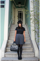 black vintage hat - black vintage bag - deep purple vintage skirt