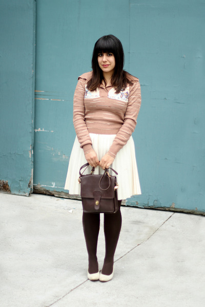 light pink vintage sweater - dark brown vintage tights - dark brown coach bag