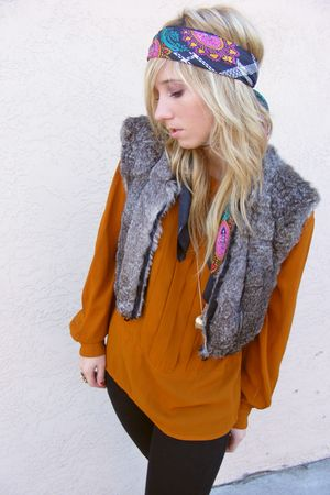 gray vintage vest - cynthia rowley scarf - orange vintage blouse - black Urban O