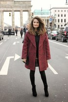black H&M boots - brick red Zara coat - black Chicwish sweater