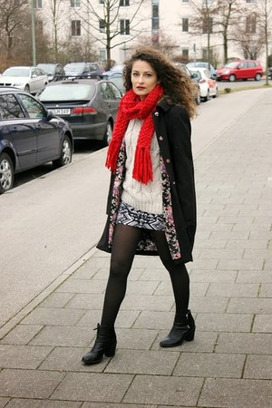 ruby red Pimkie scarf - black H&M boots - black floral print Ovs Industry coat