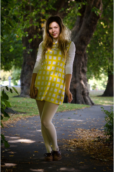 yellow united styles dress - white opaque asoscom tights
