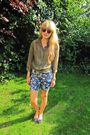 Green-h-m-shirt-blue-topshop-shorts-blue-topshop-shoes