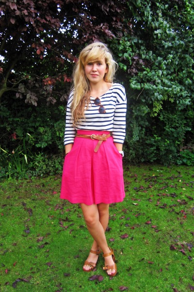 pink Topshop skirt - white H&M top - brown Topshop clogs