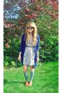 Blue-primark-cardigan-blue-river-island-dress-gray-new-look-socks-brown-to