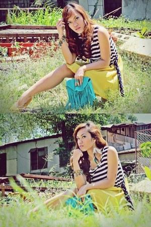 mustard stripes Greenhills dress - turquoise blue fringed bag Copper bag
