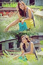 mustard stripes Greenhills dress - turquoise blue fringed bag Copper bag