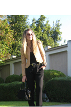 beige vintage wool blazer jacket - black chaiken pants - black