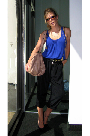 blue jersey tank top Forever 21 top - black calvin klein shoes