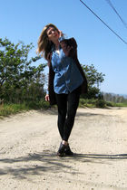 blue vintage blouse - brown lace up wedges Via Spiga shoes