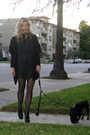 Blue-helmut-lang-shorts-black-victorias-secret-cardigan-black-jockey-tights-