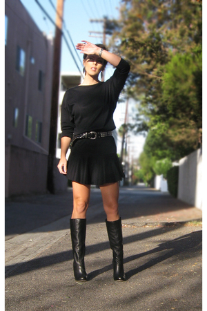 black vintage dress - black Dolce Vita boots