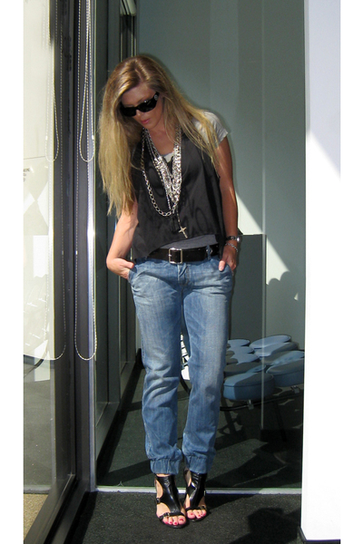 Diesel jeans - DIY vest - Guess shoes - Chanel sunglasses