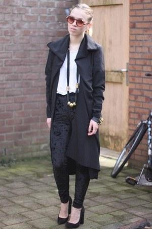 kimono Monki cardigan - selfmade necklace - Zara heels