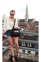 white moms vintage blouse - blue vintage shorts - black Moschino purse - black s