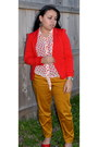 Red-xtaren-blazer-mustard-timing-pants-timing-blouse
