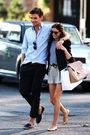 Black-blazer-gold-shoes-brown-purse