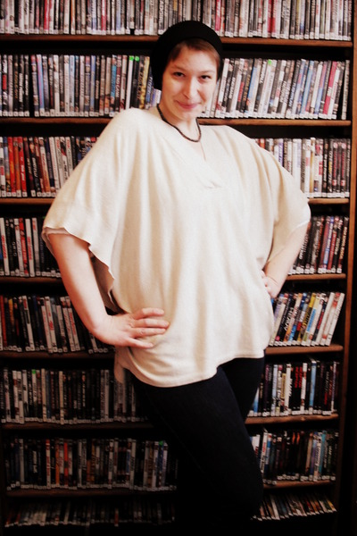 cream poncho H&M cape - navy thrifted apostrophe jeans