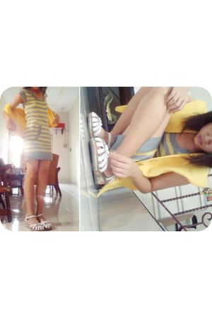 yellow blazer - yellow ColorBox dress - white Kickers shoes