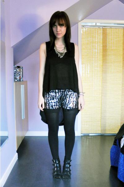 black Zara shirt - black Zara tights - silver Urban Outfitters shorts