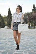 clockhouse skirt - clockhouse boots - BLANCO bag - Dunnes blouse