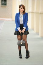 leather skirt & blue blazer