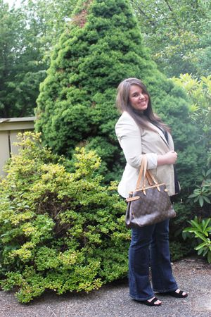 beige Zara blazer - black H&M blouse - brown Louis Vuitton purse - blue Michael