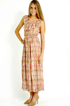 Pattern pleated maxi dress